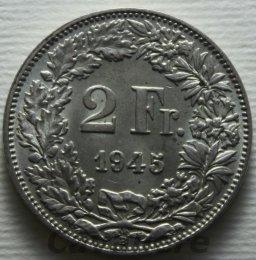 Svizzera 2 Franchi Ag 1945 ...