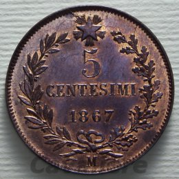 5 Centesimi Cu 1867 zecca di ...