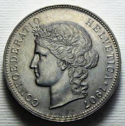 Svizzera  5 Franchi Ag 1907 B ...