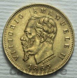 5 Lire Au 1863 zecca ...