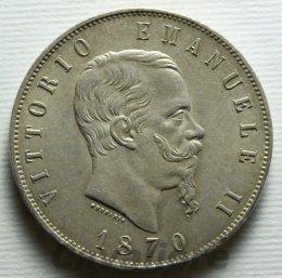 5 Lire Ag 1870 zecca ...